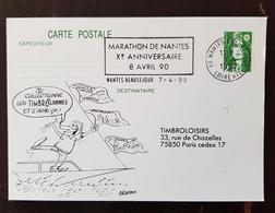 FRANCE. Athlétisme, Flamme Temporaire Illustrée Sur Entier Postal MARATHON De NANTES 10 Eme Anniversaire 08/04/1990 - Athlétisme