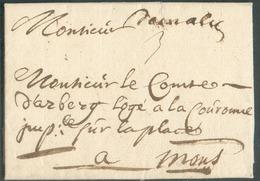 LAC (manuscrit) Demalines (H.5) Du 18/9/1719 Vers Mons; Port Dû : 3.  Belle Fraîcheur.  Ex-vente Balasse. 15097 - 1714-1794 (Austrian Netherlands)