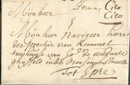 LAC (manuscrit) Demal (Malines Mechelen) En 1735 + Man. 'Cito Cito' (Exprès) Vers Ypres; Port Dû : 3.  Belle Fraîcheur. - 1714-1794 (Austrian Netherlands)