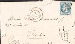 FRANCE Lettre Napoleon 20c De DAX Du 8 Avril 1870 Via CONDOM (Gers) Au Dos Ambulant De Bordeaux à Cette - Marcophilie (Lettres)