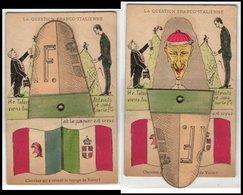 Mechanische-Cartolina La Question Franco-Italienne, König Vittorio Emanuele II. Von Italien Und Emile Loubet - Familles Royales