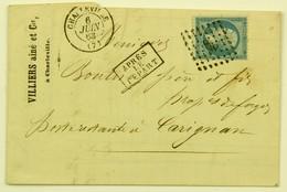 LAC 1863 Charleville --> Carignan, Affr. 20c Losange Gros Chiffre 898 - Storia Postale