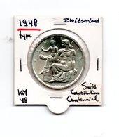 ZWITSERLAND 5 FRANCS 1948 ZILVER SWISS CONSTITUTION CENTENNIAL TYPE COIN - Zwitserland