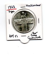 ZWITSERLAND 5 FRANCS 1963 ZILVER RED CROSS CENTENNIAL TYPE COIN - Zwitserland