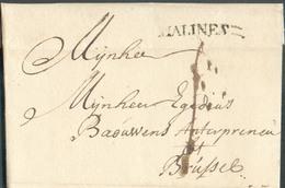 LAC (griffe Au Tampon) MALINES :  Le 27/11/1749 (H.9-) Vers Bruxelles; Port Dû '1'.  Belle Fraîcheur.  - 15100 - 1714-1794 (Austrian Netherlands)