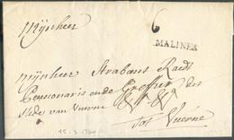 LAC (griffe Au Tampon) MALINES  Le 15/3/1760 Vers Furnes (Veurne); Port Dû '6'.  Belle Fraîcheur.  - 15101 - 1714-1794 (Austrian Netherlands)