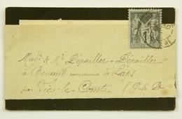 Carte De Visite Sous Bande Vic Le Comte (Puy De Dome) Affr. 1c Type Sage - 1877-1920: Periodo Semi Moderno