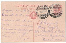 IZ56   Regno 1915 Cartolina Postale10c  Con Annullo Spinea (VE) X Zona Di Guerra - Storia Postale