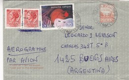 ITALY ENTIRE CIRCULATED 1978, VIZZOLA TICINO TO BUENOS AIRES, ARGENTINA. AEROGRAMME PAR AVION, AIRMAIL -LILHU - Interi Postali