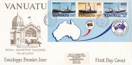 ROYAL EXHIBITION BUILDING MELBOURNE, ENVELOPPE PREMIER JOUR. VANUATU 1984 FDC WITH BLOCK -LILHU - Vanuatu (1980-...)