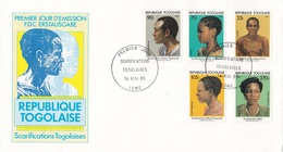 SCARIFICATION TOGOLAISES. REPUBLIQUE TOGOLAISE 1985 FDC PREMIER JOUR -LILHU - Togo (1960-...)