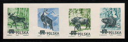 POLAND 1954 SLANIA RARE BEAVER & ANIMALS COLOUR PROOF STRIP OF 4 Bison Beaver Deer Moose Antelope Goat Mountians Forests - 1944-.... République