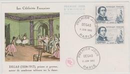 FRANCE 1960 Enveloppe FDC Les Célébrités Françaises DEGAS Peintre Et Graveur Avec Paire Cachet 1er Jour PARIS - FDC