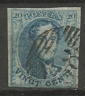 Belgique - Médaillons - N°7V5 (Balasse) Retouche Importante Du Feuillage Inférieur Gauche + Filigrane  I Et M Partielles - 1851-1857 Medallions (6/8)