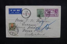 INDE - Enveloppe Pour La Suisse Par Avion En 1934 Avec Taxe De Suisse , Affranchissement Plaisant - L 51982 - India (...-1947)