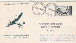 Cachet Première Liaison Aérienne Nouvelle Calédonie Wallis Et Futuna 25/3/1957 Cachets Verso - Luftpost