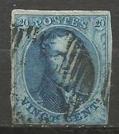 Belgique - Médaillons - N°7 - Curiosité Griffe Du S De POSTES Au 20 De Droite - 1851-1857 Medallions (6/8)