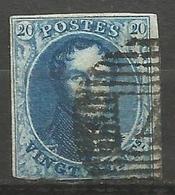 Belgique - Médaillons - N°7 - Curiosité Griffe Sur Le 0 Du 20 De Gauche - 1851-1857 Medallions (6/8)