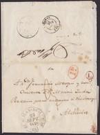 1839. SAN JUAN DE LUZ A FRANCIA. FECHADOR GRANDE ST. JEAN-DE-LUZ. MARCA L EN CÍRCULO Y 1D ROJO A ALDUIDES. TRÁNSITOS. - Poststempel (Briefe)