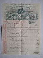 Gand 1911 Facture Invoice Léon Gerinroze Auto Garage Du Parc Cycles Automobiles Rue Des Praires Porte De Courtrai Gent - 1900 – 1949