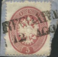 1863-(F = On Piece) Lombardo Veneto 5 S.rosa Su Frammento Con Annullo Lineare Recoaro - Lombardo-Veneto