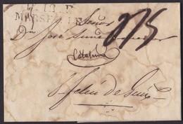 1821. MARSELLA A SANT FELIU DE GUÍXOLS. MARCA P.12.P./MARSEILLE. PORTEO MNS. 5 REALES. DESINFECTADA. ENVUELTA. - Marcophilie (Lettres)