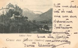 1899-Merano, Gruss Aus Meran, Schloss Forst, Panorama, Viaggiata - Bolzano