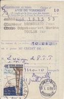 Avis De Virement De 10.000F Obl. Toulon Le 31/7/59 Sur N° 1205 (Hassi-Méssaoud) - Documents Of Postal Services