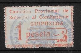 Subsidio Al Combatiente GUIPUZCOA /SAN SEBASTIAN Una 1 Peseta - Franquicia Militar