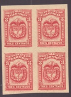Colombia, 1900 Issue 3 C. Hinged Mint Perkins Bacon Proof In Block Of Four -CK49 - Colombia
