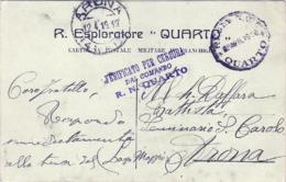"""1916- Cartolina In Franchigia Con Intestazione Di Nave """"R.Esploratore Quarto"""" Annullo Della Regia Nave Del 9 Aprile E Ti - Marcophilia"""