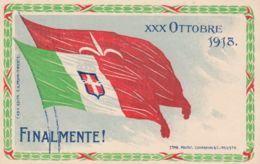 """1918-Venezia Giulia """"Finalmente- Vessillo Trieste """" Affrancata 10c.Leoni Soprastampato - Altri"""
