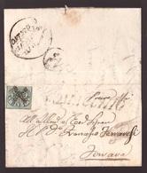 Pontificio, Letterina Del 1855 Con 1 Baj Verde, Da Comacchio Per Ferrara       -CJ57 - Stato Pontificio