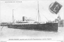 EUGENE PEREIRE PAQUEBOT POSTE DE LA Cie TRANSATLANTIQUE COURRIER D'ALGERIE 1912 TBE - Paquebots