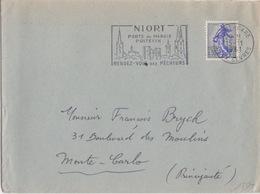 Lettre Obl. Sécap (Marais Poitevin) Niort Gare Le 15/11/61 Sur N° 1234 A Semeuse 30c Piel Pour Les Monaco - Marcophilie (Lettres)
