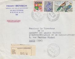 Lettre Rec. à Entête (H. Bensch) Obl. Bordeaux Le 1/6/61 Sur N° 1230A, 1276, 1234 A Semeuse 30c Piel Pour Paris - Posttarife