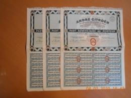 ACTION - LOT De 3 PARTS BENEFICIAIRES De La S.A. ANDRE CITROËN 1927 - Automobile