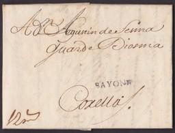 1728. BAYONA A CORELLA. MARCA BAYONE LINEAL NEGRO Y PORTEO MNS. 12 REALES. MUY INTERESANTE CIRCULACIÓN. - 1701-1800: Vorläufer XVIII