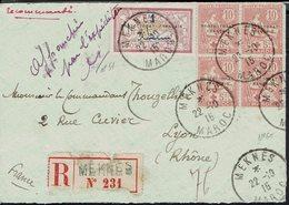 Maroc - N° 51 + N° 60 Croix Rouge En Bloc De 4 Sur Enveloppe Recommandée De Meknès Pour Lyon - Cachets 22-10-1915 - TB - - Marruecos (1891-1956)