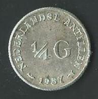 Moneta Antille Olandesi ¼ Guilden 1957 Argento (39) - Netherland Antilles