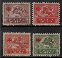 POLOGNE - POLSKA - CROIX ROUGE / 1921 SERIE COMPLETE # 231 A 234 (*) / COTE 75.00 EUROS  (ref 2316d) - 1919-1939 République