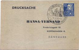 C2453-Germany/Soviet Zone-Thankfulness Card From Werdau To Denmark-1949 - Zone Soviétique