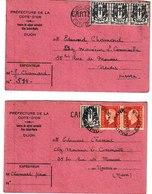 Côte D'Or DIJON Centre De Séjour Surveillé 2 Cartes-lettre 1945 - Port La Nouvelle