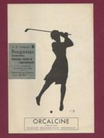 040220 - CARTE PUB Orcalcine - Illustration CM Ombre Femme Sport Golf Tir à L'arc Ski Nage Vélo Tennis Patin - Pubblicitari