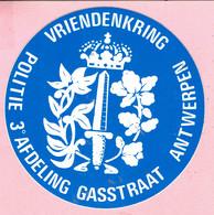 Sticker -  Vriendenkring - POLITIE 3° AFDELING GASSTRAAT Antwerpen - Autocollants