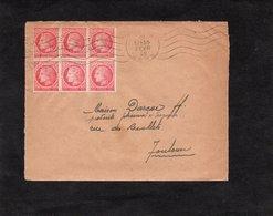 LSC 1948 - Cachet  AUCH (Gers) - Type Cérès De Mazelin - YT 676 En Bloc De 6 - Enveloppe Pour Toulouse - Marcophilie (Lettres)