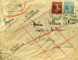 MONTEREAU 1938 Daguin DREYFUSS En 1994 Cote 50F N°MON383 CHASSE PECHE Retour à L'envoyeur Cachet Perlé SERVON Défaut - Postmark Collection (Covers)