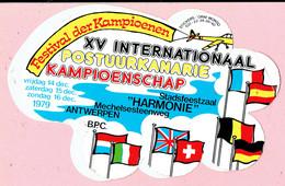 Sticker - Intern. Postuurkanarie Kampioenschap - 1979 - Stadsfeestzaal Harmonie Mechelsesteenweg Antwerpen - Autocollants