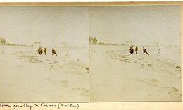 CARNAC ***  LA PLAGE ET QUELQUES VILLAS LE 10/05/1904  *** VUE STEREOSCOPIQUE *** - Carnac