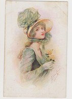 Cpa Fantaisie Signée Elde Cenni  / Jeune Femme Avec Chapeau Et Roses - Illustratori & Fotografie